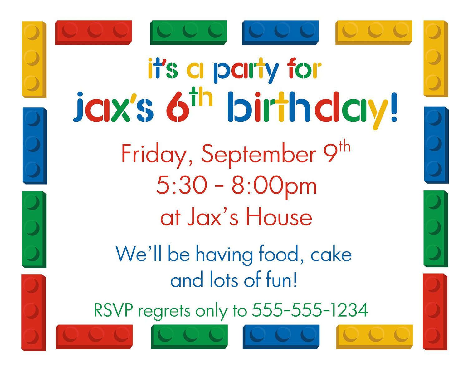 Kids Birthday Party Invitations Templates Free Printable | Lego ...