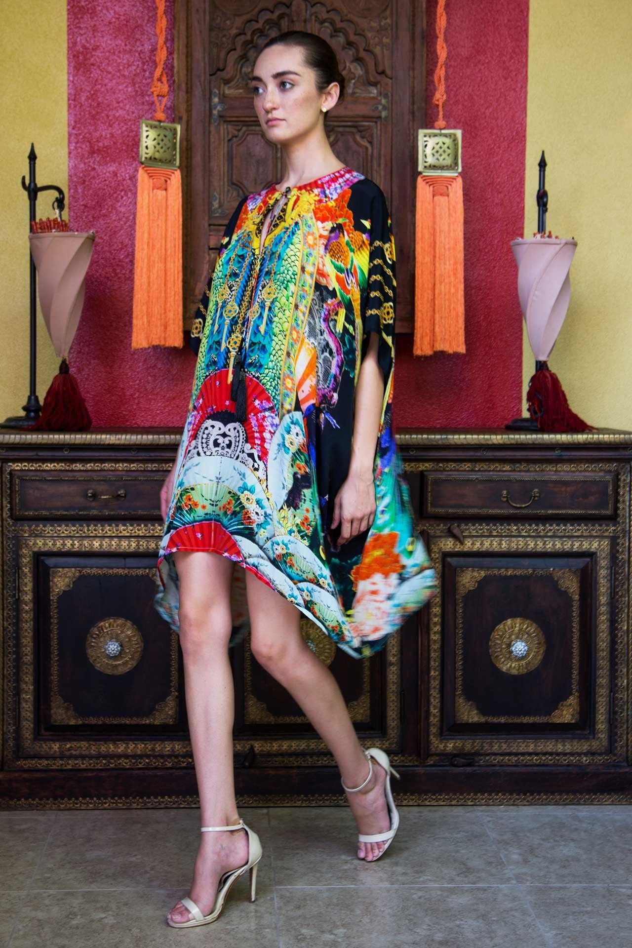c2acc2779a5 Black Japanese Print Kaftan Dress - Designer Women s Clothing - Shahida  Parides