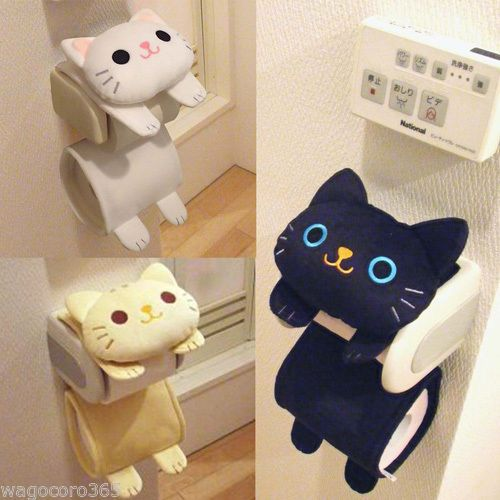 Cat Toilet Paper Holder Roll Storage Cover Black Tiger Kitty