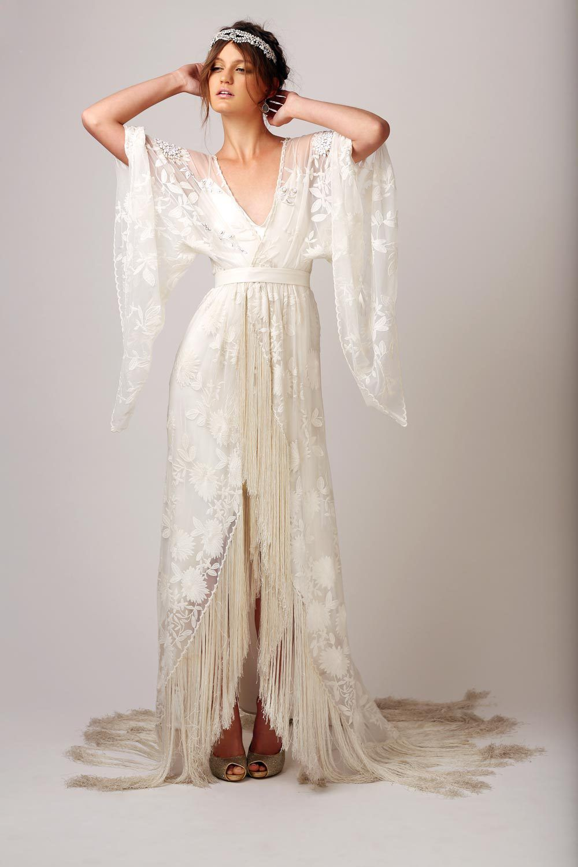 20 Fringe Wedding Dresses That Catch An Eye: Vintage Hippie Wedding Dress At Reisefeber.org