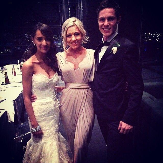 @hannahgorg wearing our Dionne Dress in Latte #bridesmaid #wedding #whiterunway #realrunway #pretty #bridal #weddingfashion