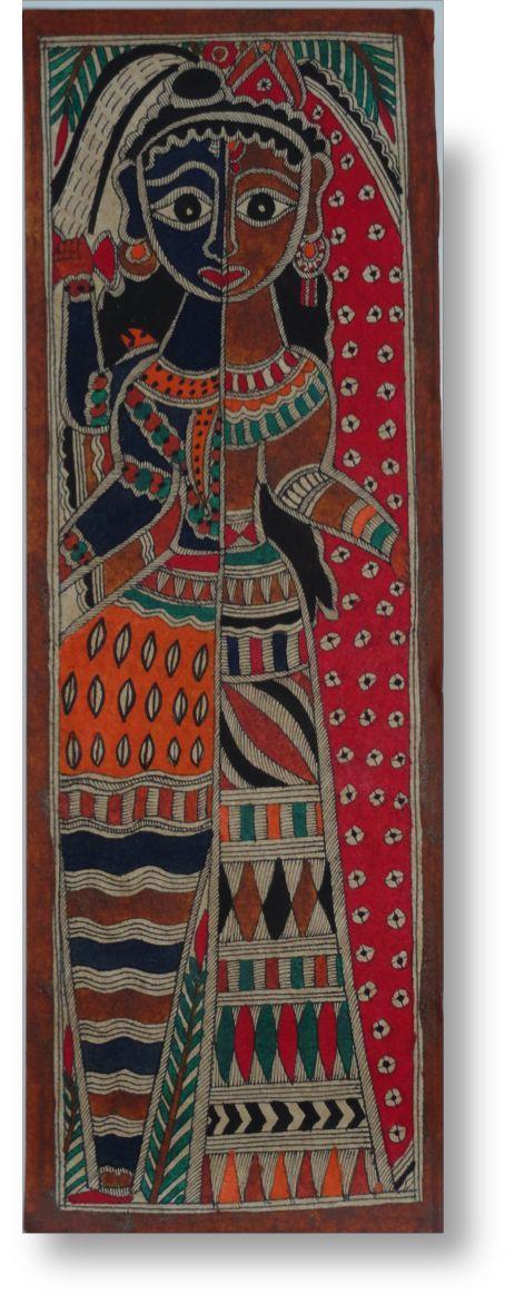 "India's Madhubani Art Painting. Original Ethnic Painting. Ethnic art. Indian Folk Art- 22""by7.5"". Indian decor idea. From Artikrtii"
