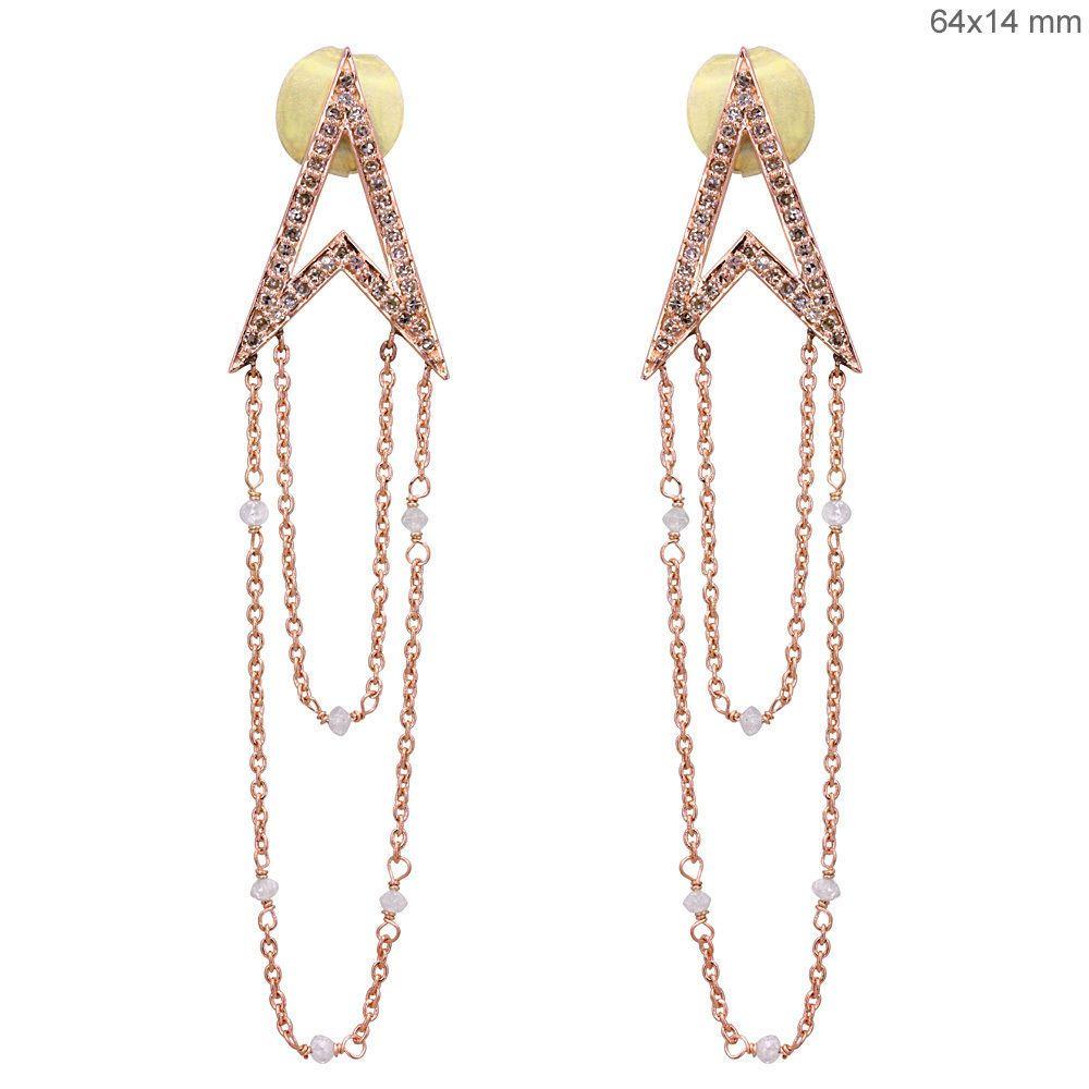 18k Solid Rose Gold Diamond Pave Fine Dangle Chain Long Earrings Fashion Jewelry #Handmade #DropDangle