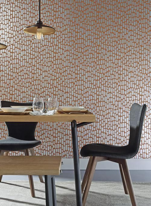 Sumi-E Wallpaper in Silver and Red-Orange design by York Wallcoverings
