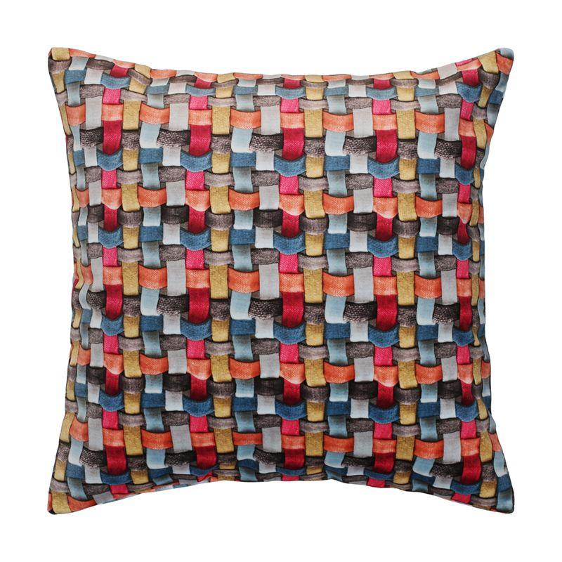 Colourful Basket Weave Print Pink Grey Orange And Blue Decorative Cushion Throw Pillow Veevie Coral Multicoloured Cushions Cushions On Sofa Chevron Cushions