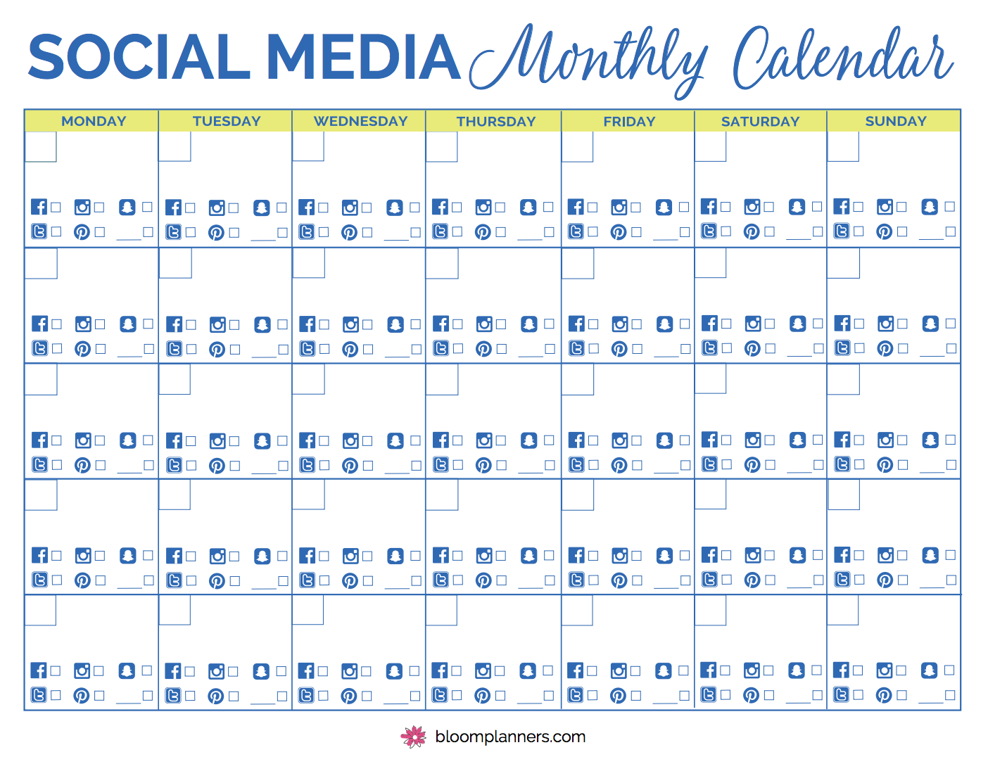 Free Printable Social Media Monthly Calendar From Bloom Daily