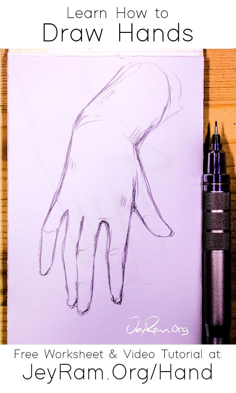 Learn How To Draw Hands Step By Step Tutorial In 2020 How To Draw Hands Learn To Draw Tutorial