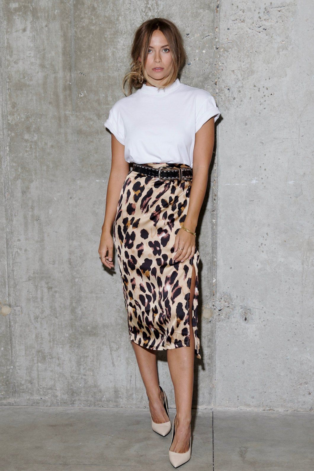 b9ff8d1ab665 Jaspre Wrap Leopard skirt midi split A MUST HAVE for your wardrobe...Wear  with a little cami and sandals, T and sneakers, or a roll neck sweater and  ankle ...