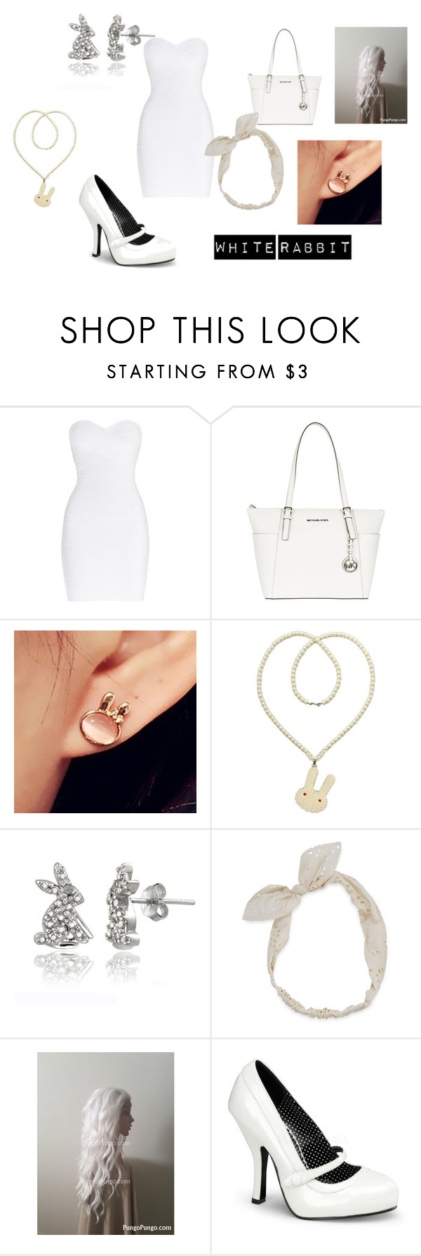 """""""White Rabbit"""" by maddie-hatter23 ❤ liked on Polyvore featuring Hervé Léger, MICHAEL Michael Kors, Cheermo, Kate Marie, DB Designs, Carole and Pinup Couture"""