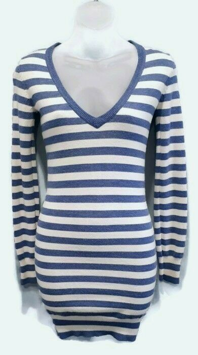 417af284155 Talula Aritzia Striped Sweater Mini Dress Size XS Blue Bodycon Wool Blend V  Neck  affilink