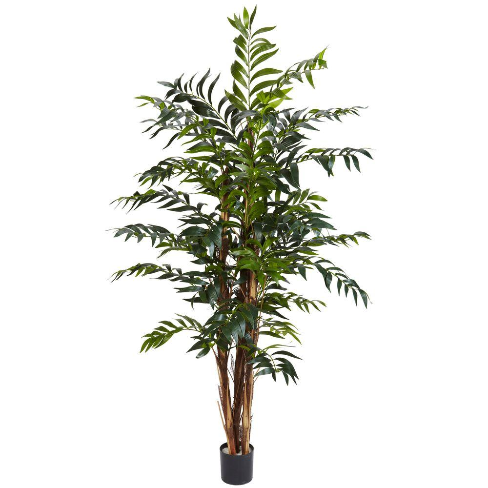 Nearly Natural 5 Ft Green Bamboo Palm Silk Tree 5329 Potted
