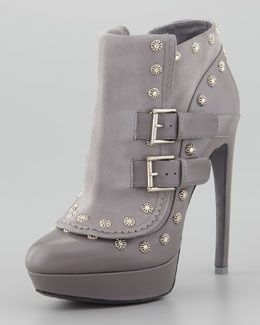 S9010 Alexander McQueen Floral-Stud Ankle Boot