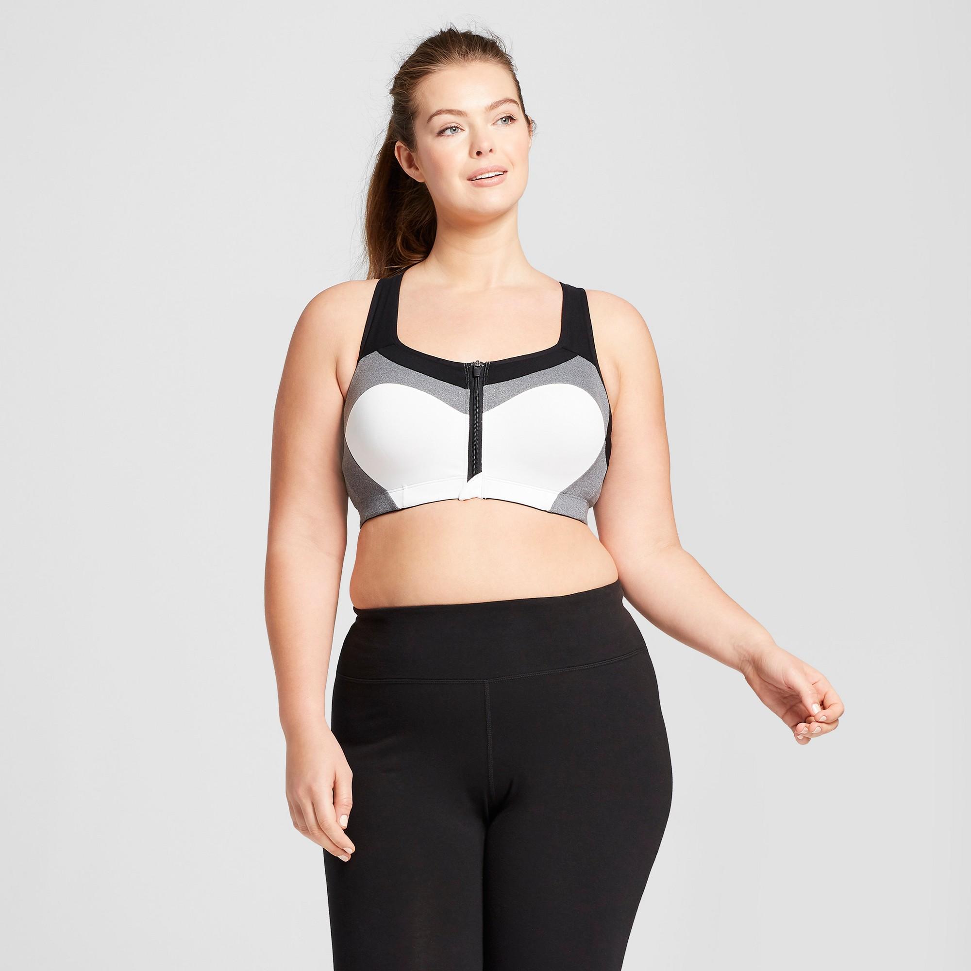 cd7480d63041b Women s Plus-Size Power Shape Max Support Front-Close Sports Bra - C9  Champion White   Dark Heather Gray 42C