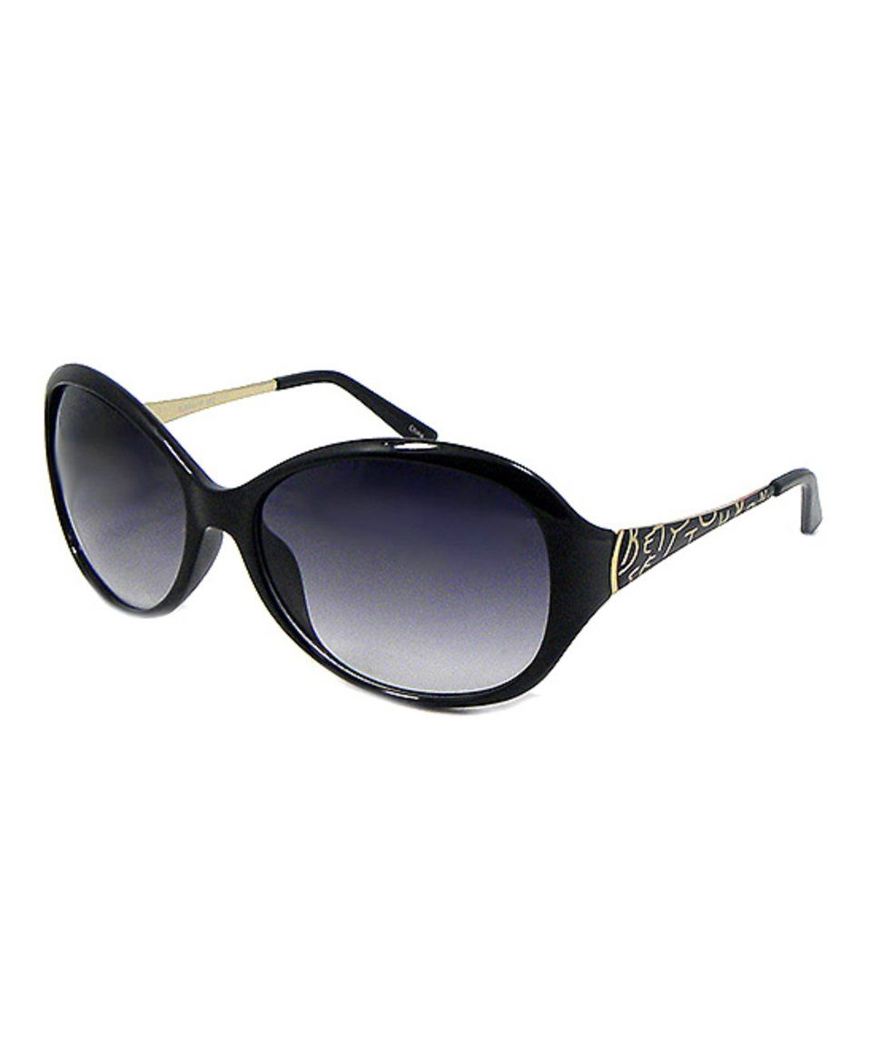Take a look at this Betsey Johnson Black Text Oval Sunglasses today!