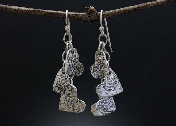2fad263c6 Sterling Silver Heart Earrings - Heart Cluster - Valentines Day - Heart  Drop - Long Earrings - Three Heart Dangle Earrings - Sherry Tinsman
