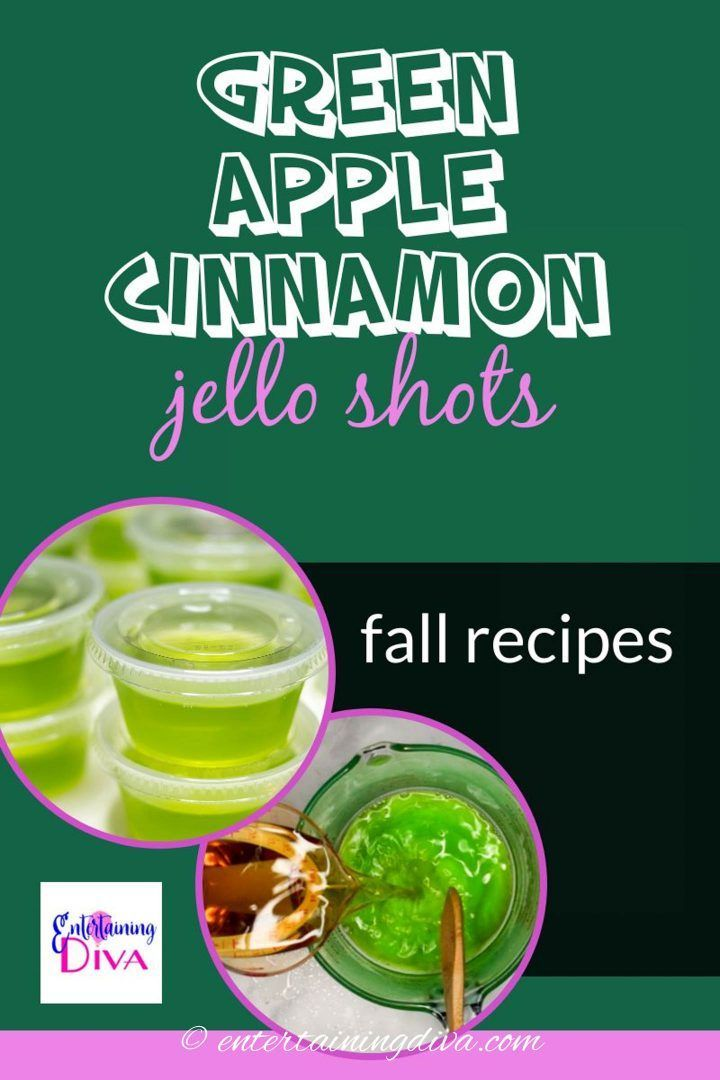 What do you get when you combine Jolly Rancher green apple gelatin with Fireball whiskey? The best green apple cinnamon jello shots recipe ever! Perfect for fall, Halloween and Christmas parties! #halloweenobsession #fall #jelloshots