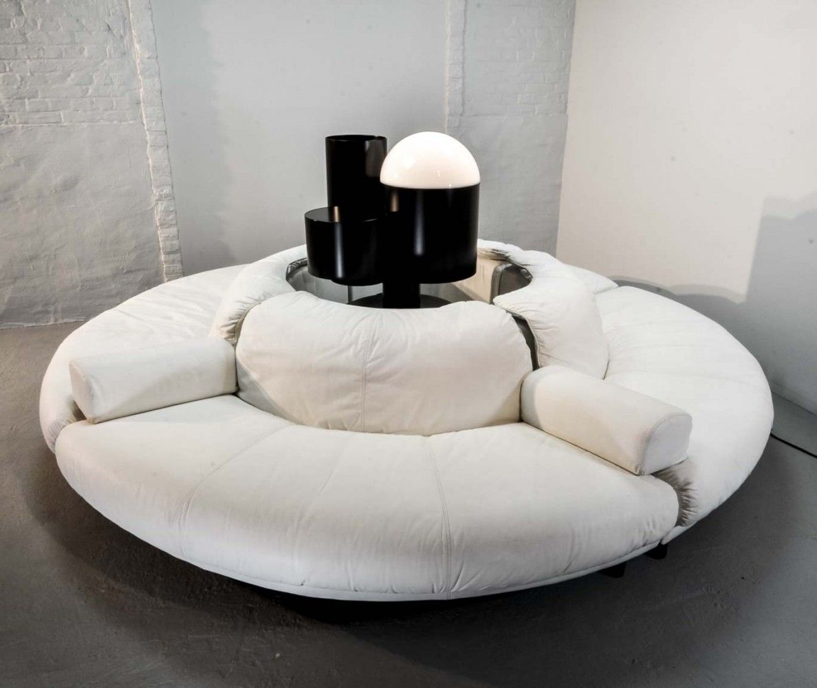 Terrific White Leather Round 4 Elements Sectional Italian Lounge Sofa Machost Co Dining Chair Design Ideas Machostcouk