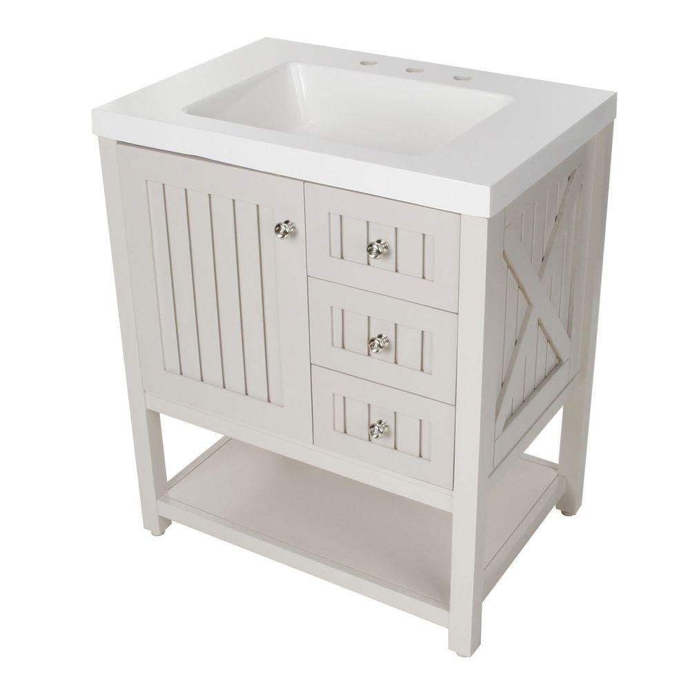 Kids Martha Stewart Living Seal Harbor 30 In Vanity In Sharkey Gray With Vanity Top In Alpine White Sl30p2com Sg Vanity Combos Bathrooms Remodel Gray Vanity