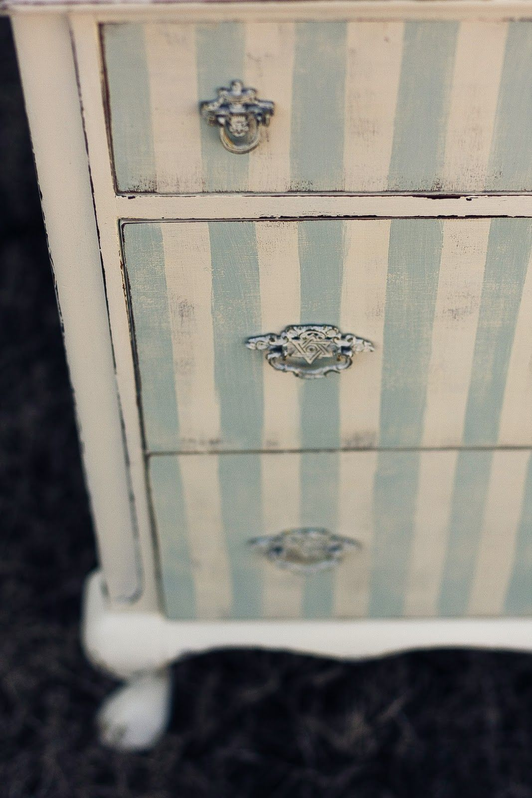 The Green Dresser.: Striped Chest....beach house...