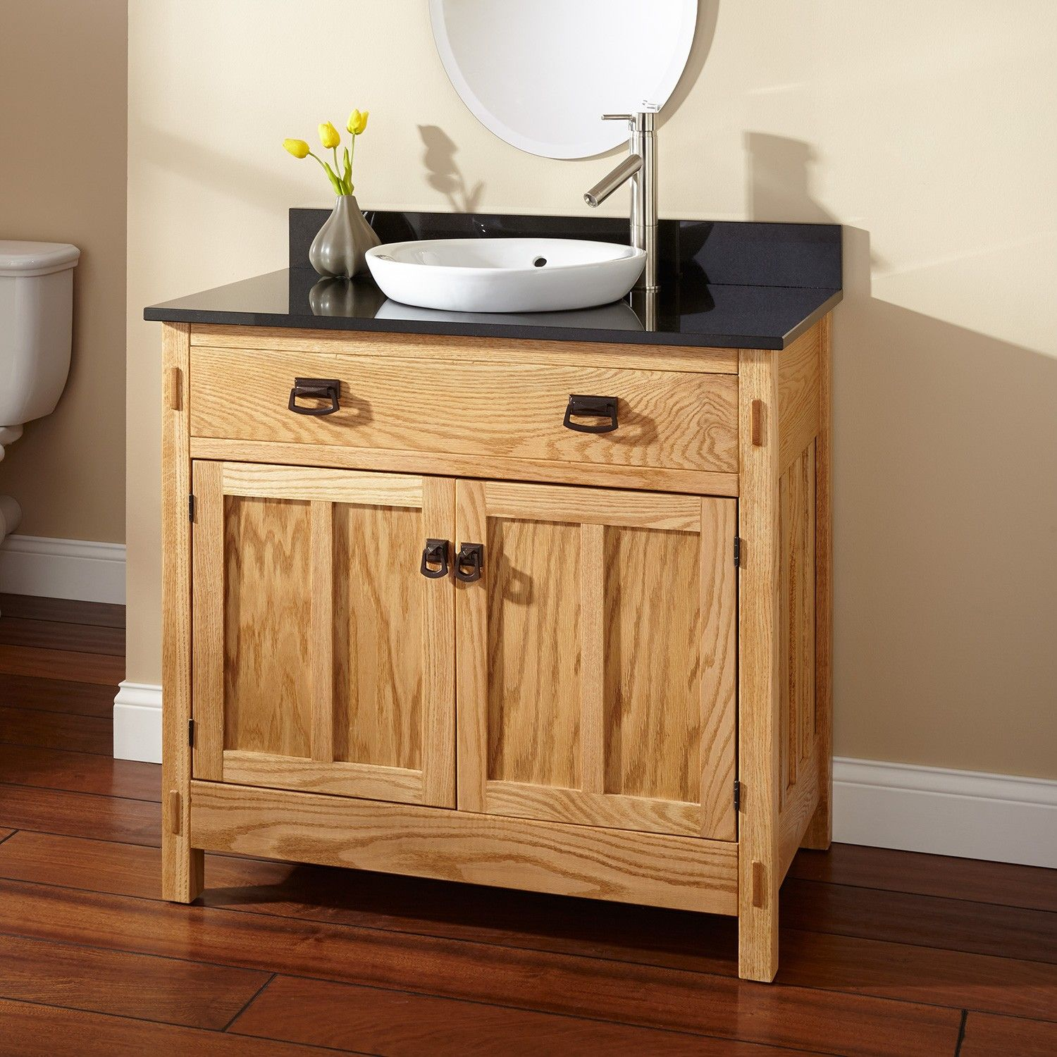 36 Mission Hardwood Vanity For Semi Recessed Sink Signature Hardware Vessel Sink Vanity Vanity Sink Bathroom Sink Vanity