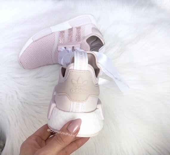 20c489fb9a6 Pink Blush Adidas NMD R1 Runner Made with SWAROVSKI® Xirius Rose Crystals -  Blush White