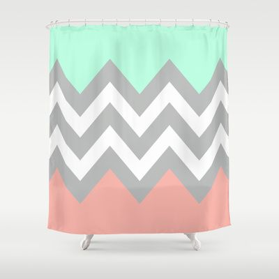 DOUBLE COLORBLOCK CHEVRON Shower Curtain By N A T L I E