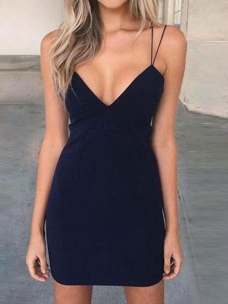 Charming Navy Blue Deep V-Neck Spaghetti Strap Short Homecoming Dresses, BW0212