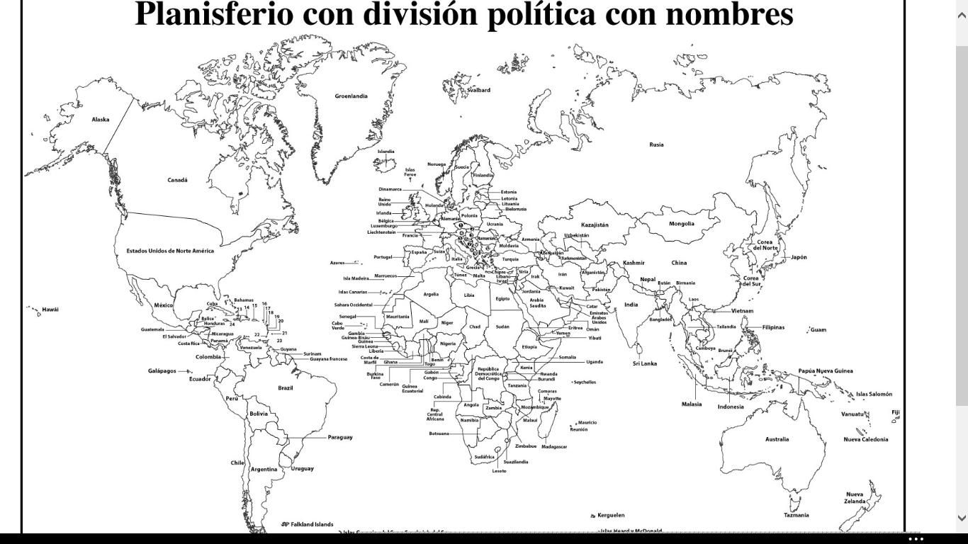 Resultado de imagen para mapamundi con nombres de los