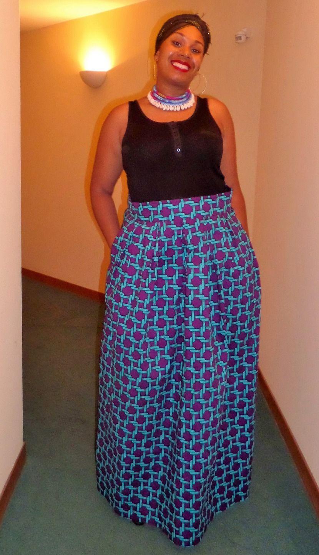Jupe longue plis creux en wax ( pagne africain )   Jupe