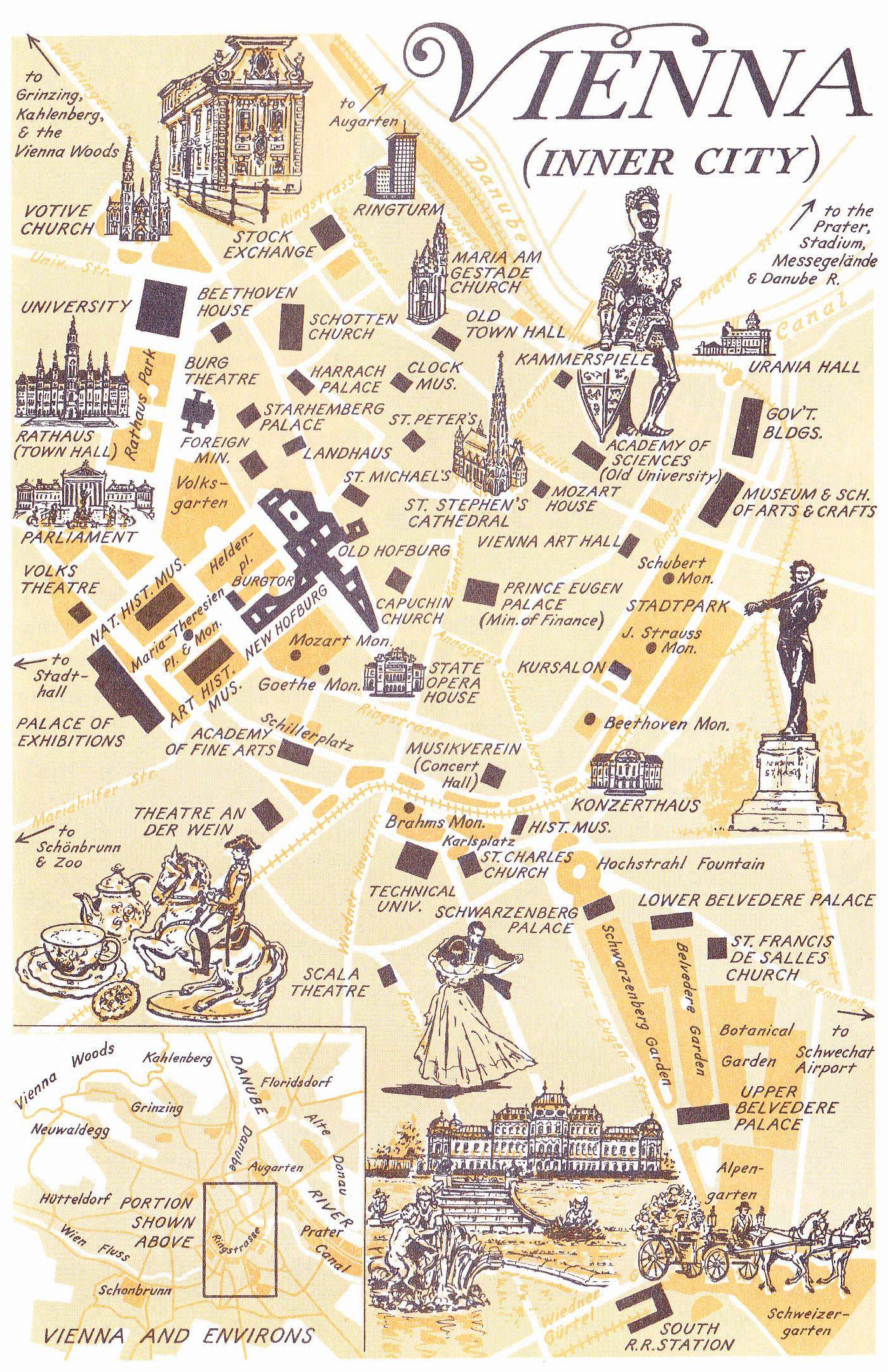 Stadtplan Von Der Wiener Innenstadt Mit Vielen Sehenswurdigkeiten