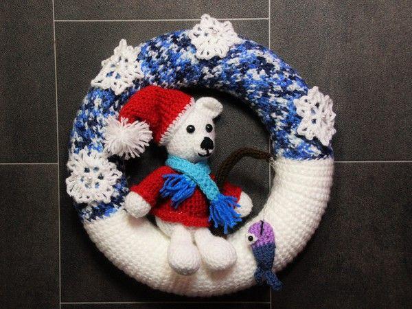 Türkranz Winter Eisbär Knut Häkelanleitung Weihnachten
