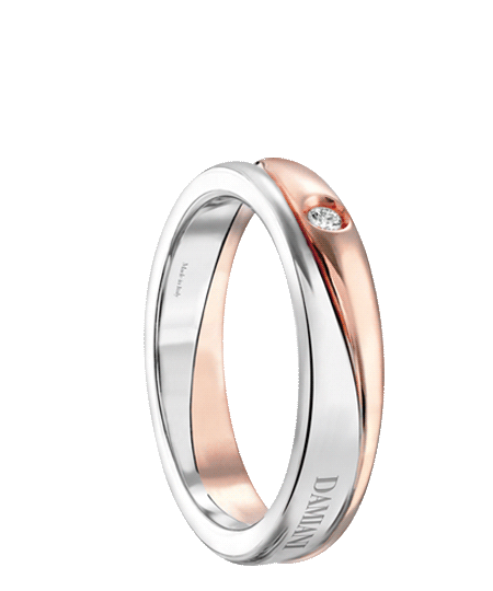 damiani whit and rose gold with a 003 ct diamond
