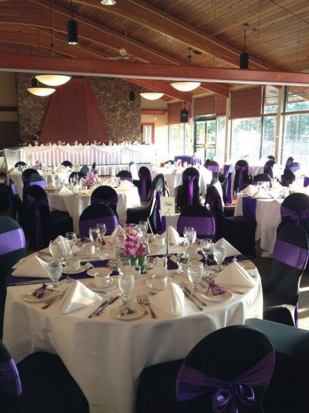 Wondrous Black Chair Covers With Purple Sash By Absolute Events And Interior Design Ideas Apansoteloinfo