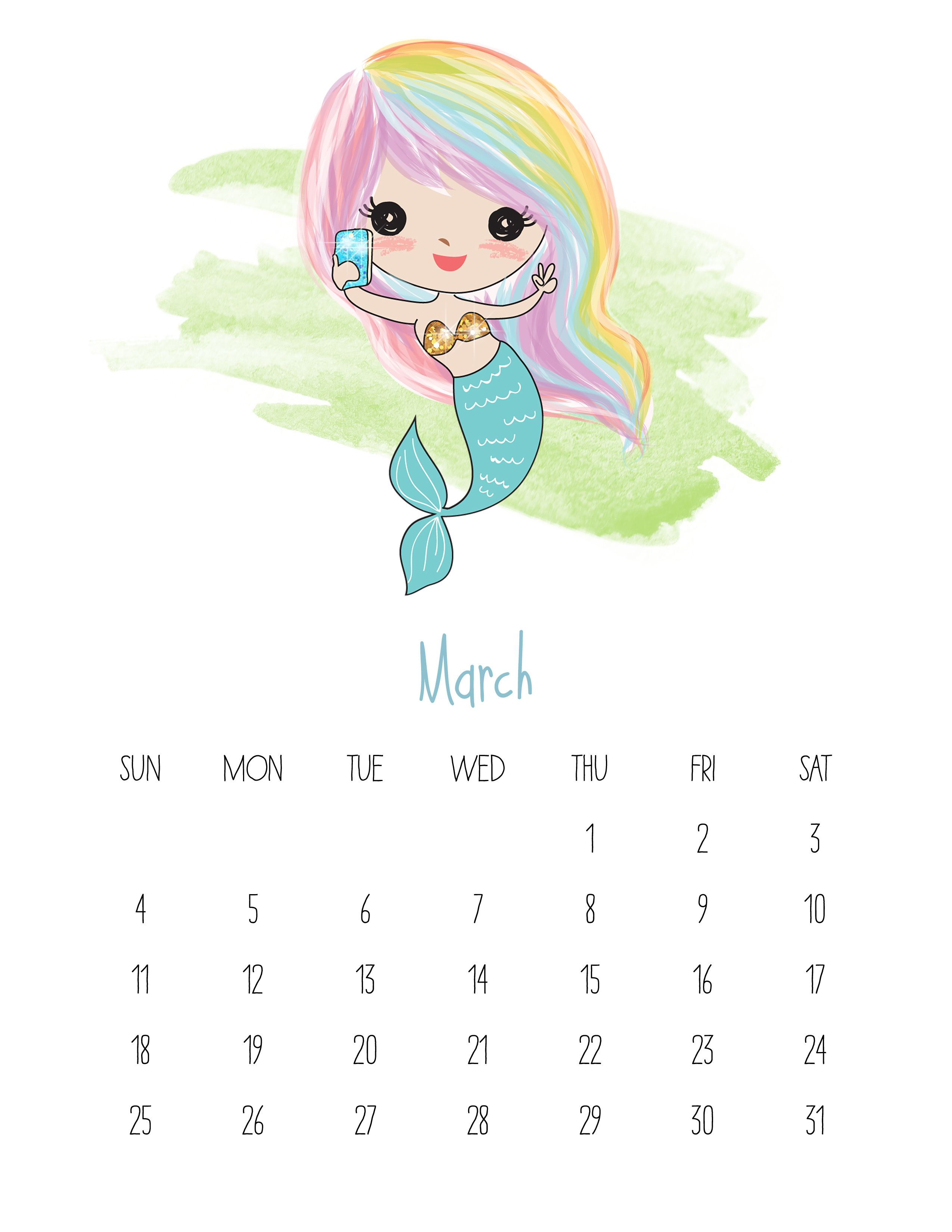 march 2018 calendar for kids