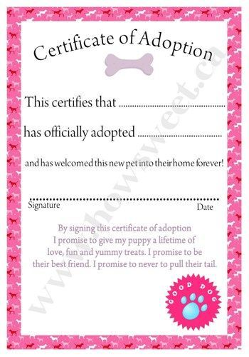Puppy Adoption Papers For Kids Party  InspirationActivityPink