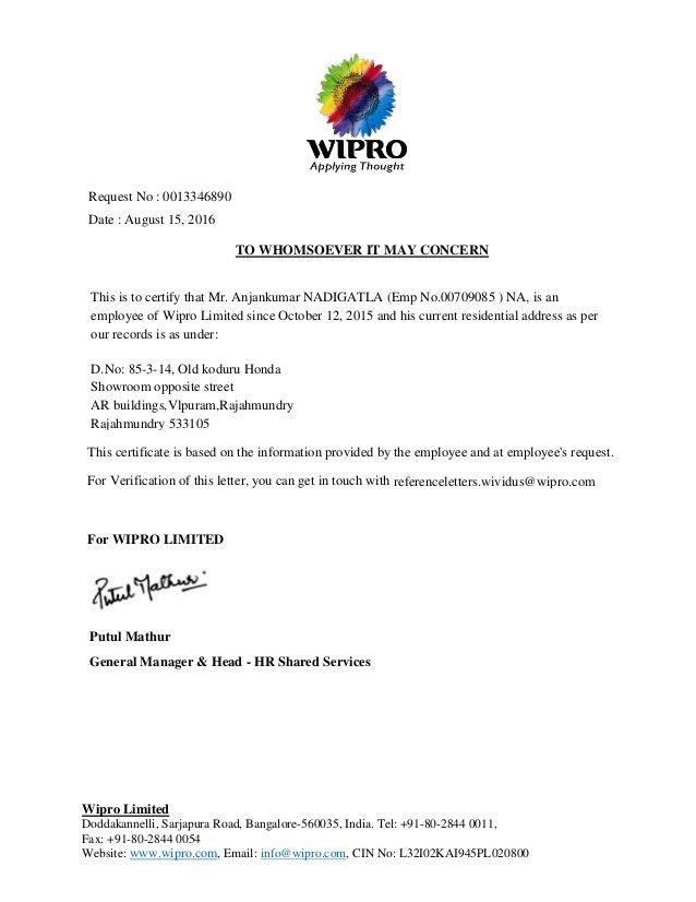 residential address proof Wipro- Address proof #sampleResume