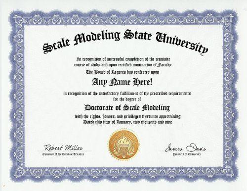 Scale Modeling Scale Models Modeler Degree Custom Gag Diploma