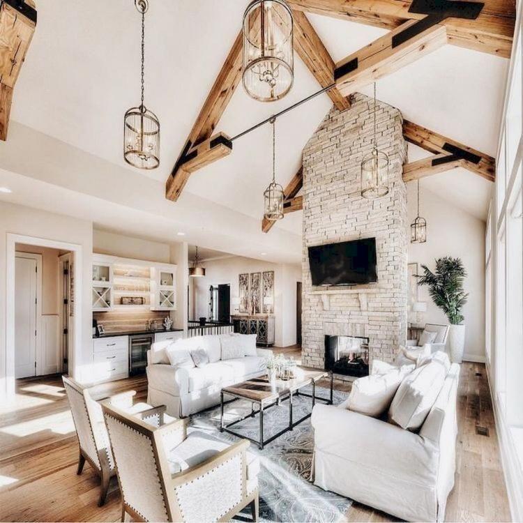 37 Beautiful Farmhouse Living Room Design Ideas images