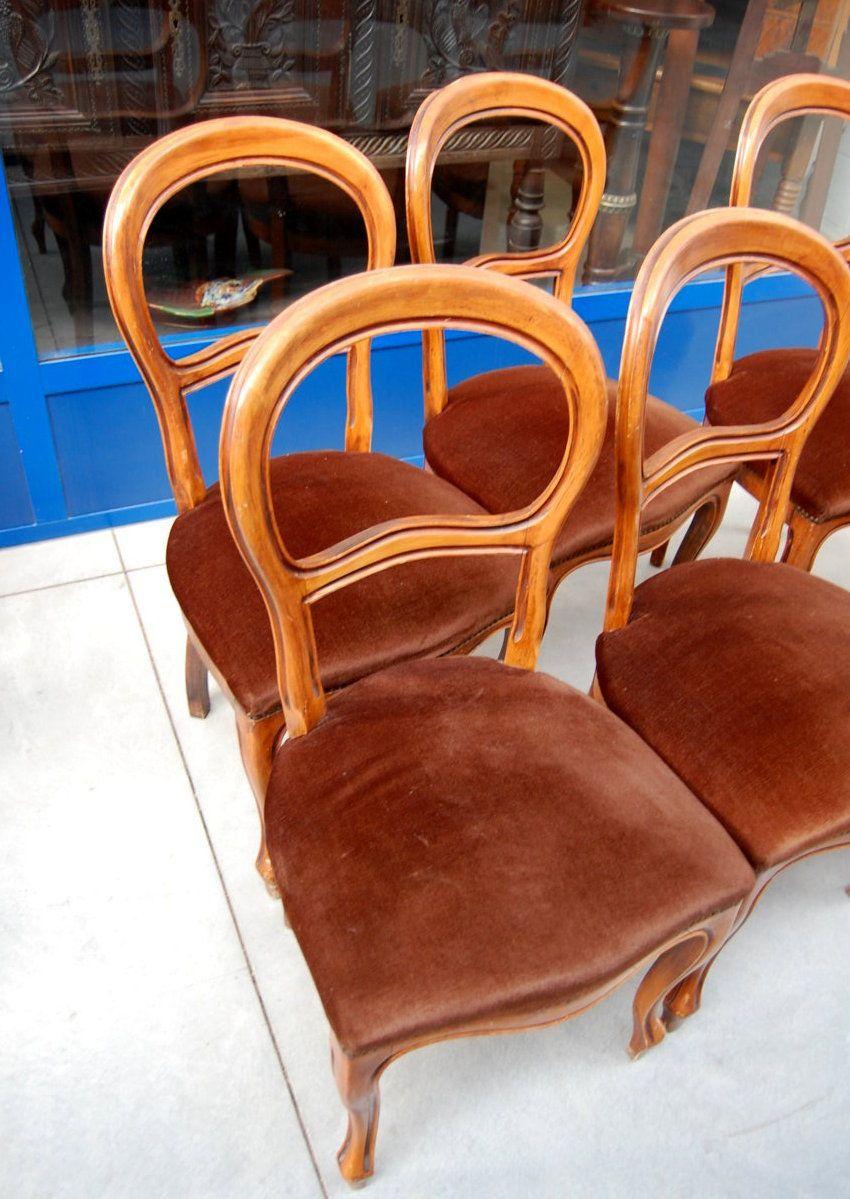 6 sedie in noce stile Luigi Filippo seduta imbottita ...