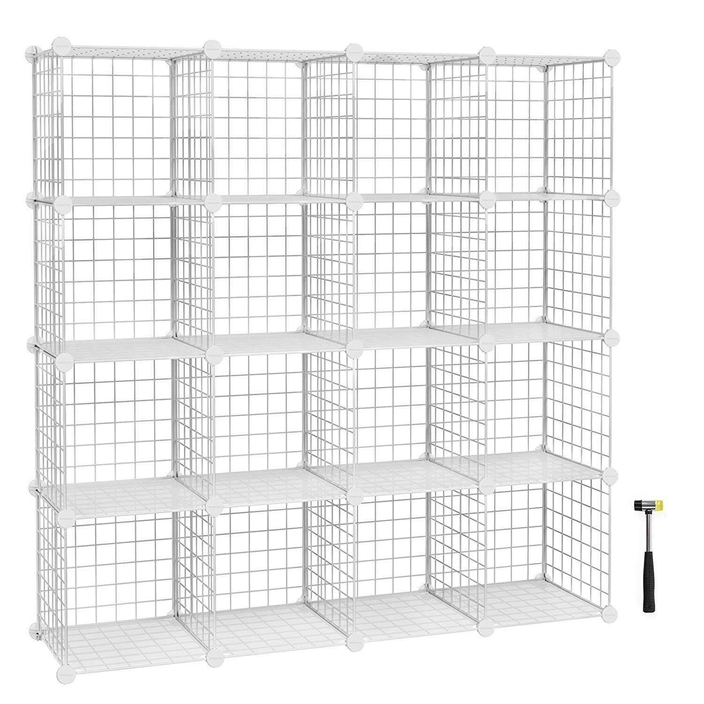 Songmics 12 Cubes Metal Wire Storage Rack Interlocking Shelving