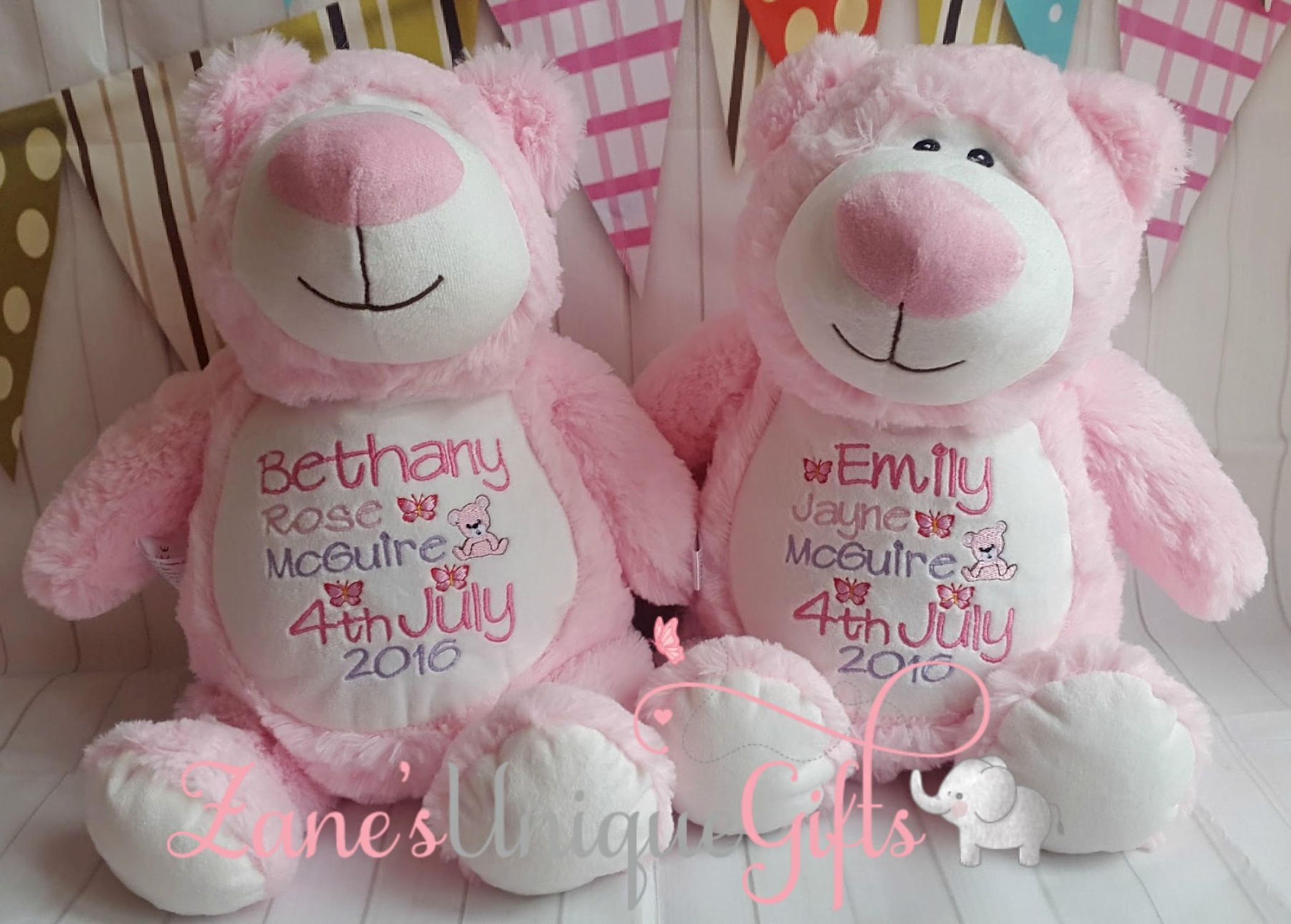 Personalised Baby Teddy Bear Gift Embroidered Cubbies Bear Christening New Baby