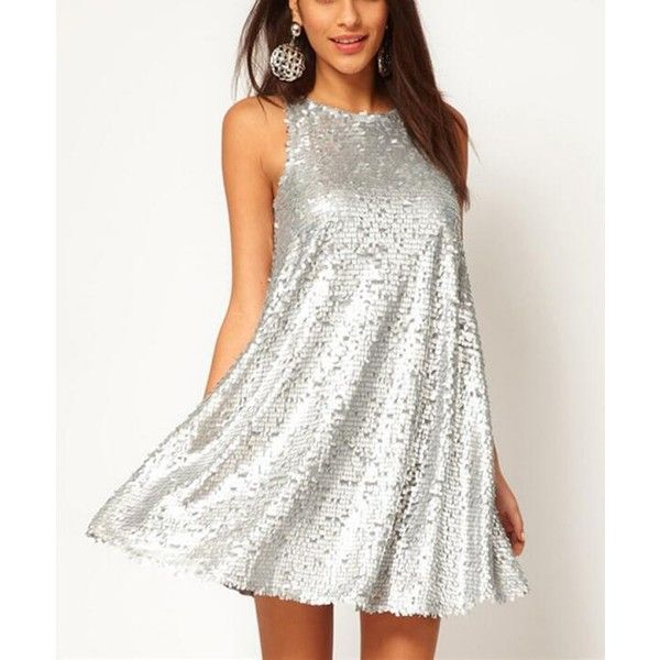 Silver sparkle sequined sleeveless dresses (€30) ❤ liked on ...