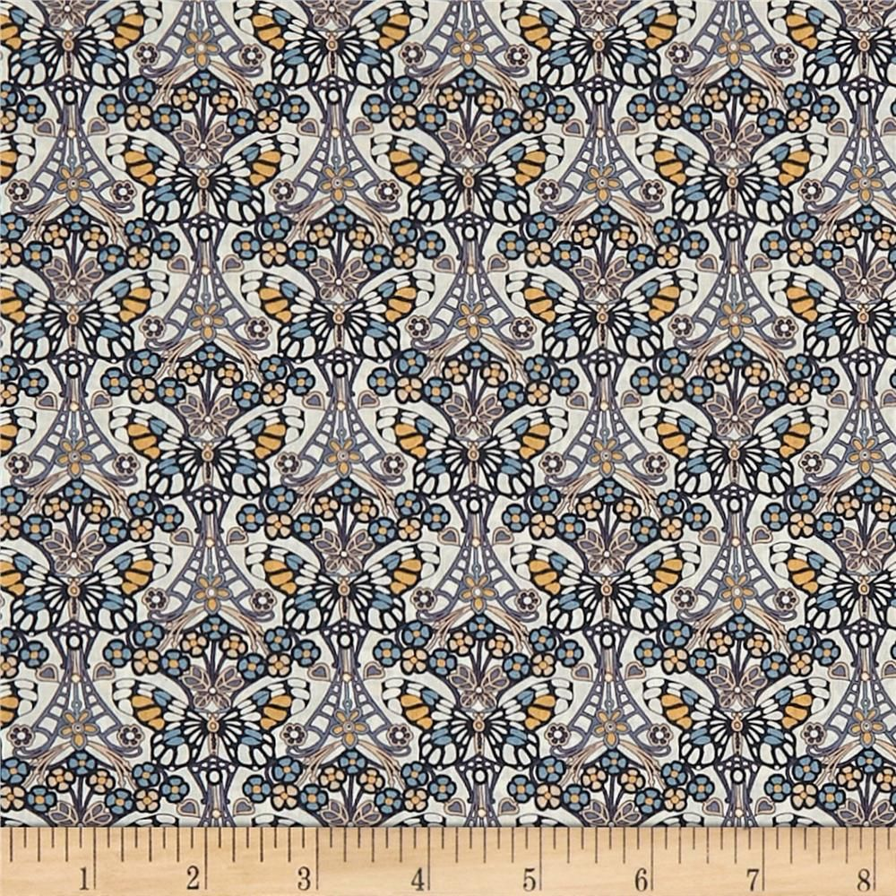 Liberty Fabrics Tana Lawn Morris Butterfly Gray is part of lawn Dress Liberty Fabric - From the world famous Liberty Fabrics, this exquisite cotton lawn fabric is finely woven, silky, very lightweight and ultra soft  This gorgeous fabric is oh so perfect for flirty blouses, dresses, lingerie, even quilting  Colors include grey, blue, white, pink, and golden yellow