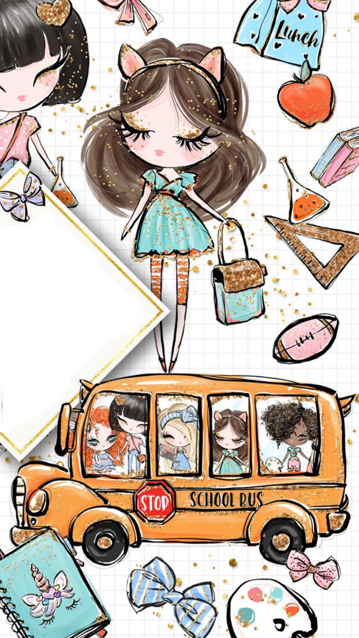 School Bus With Images Cute Drawings