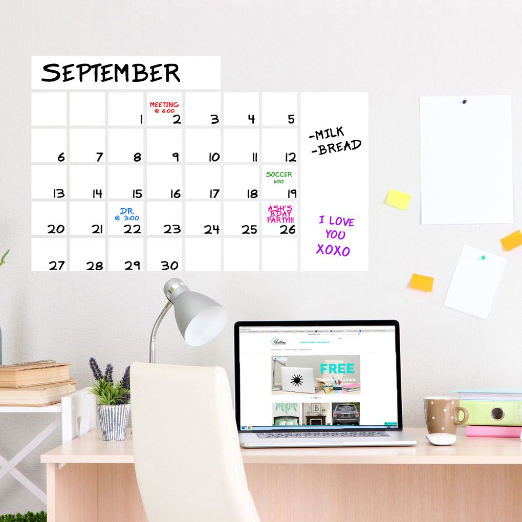 Dry Erase Calendar Wide Wall Decals And Stickers Dry Erase