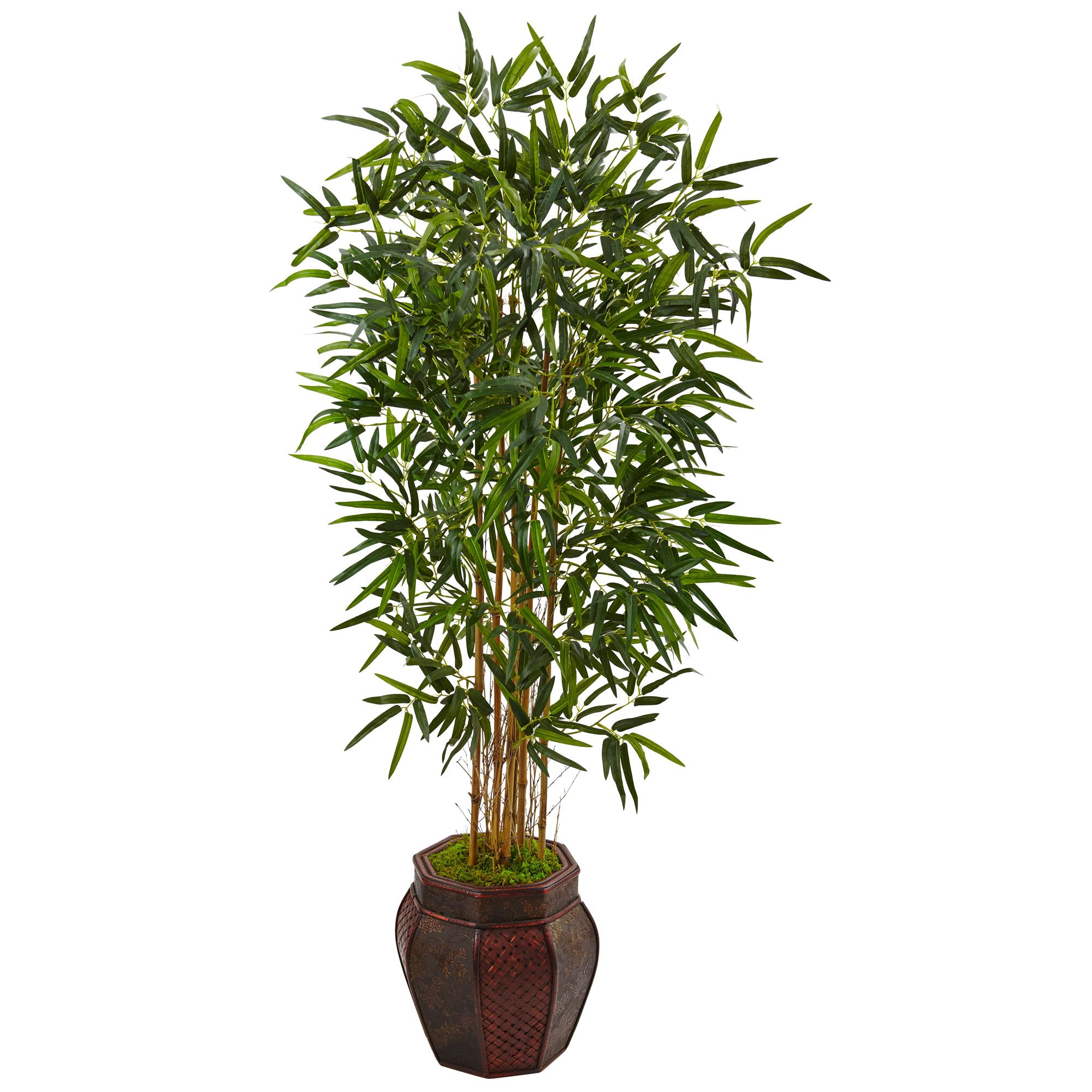 5 H Faux Bamboo Tree In Weave Design Planter