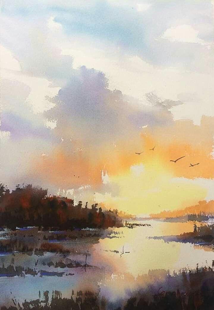 Epingle Par Sandrinelsp Sur Aquarelle En 2019 Peinture Paysage