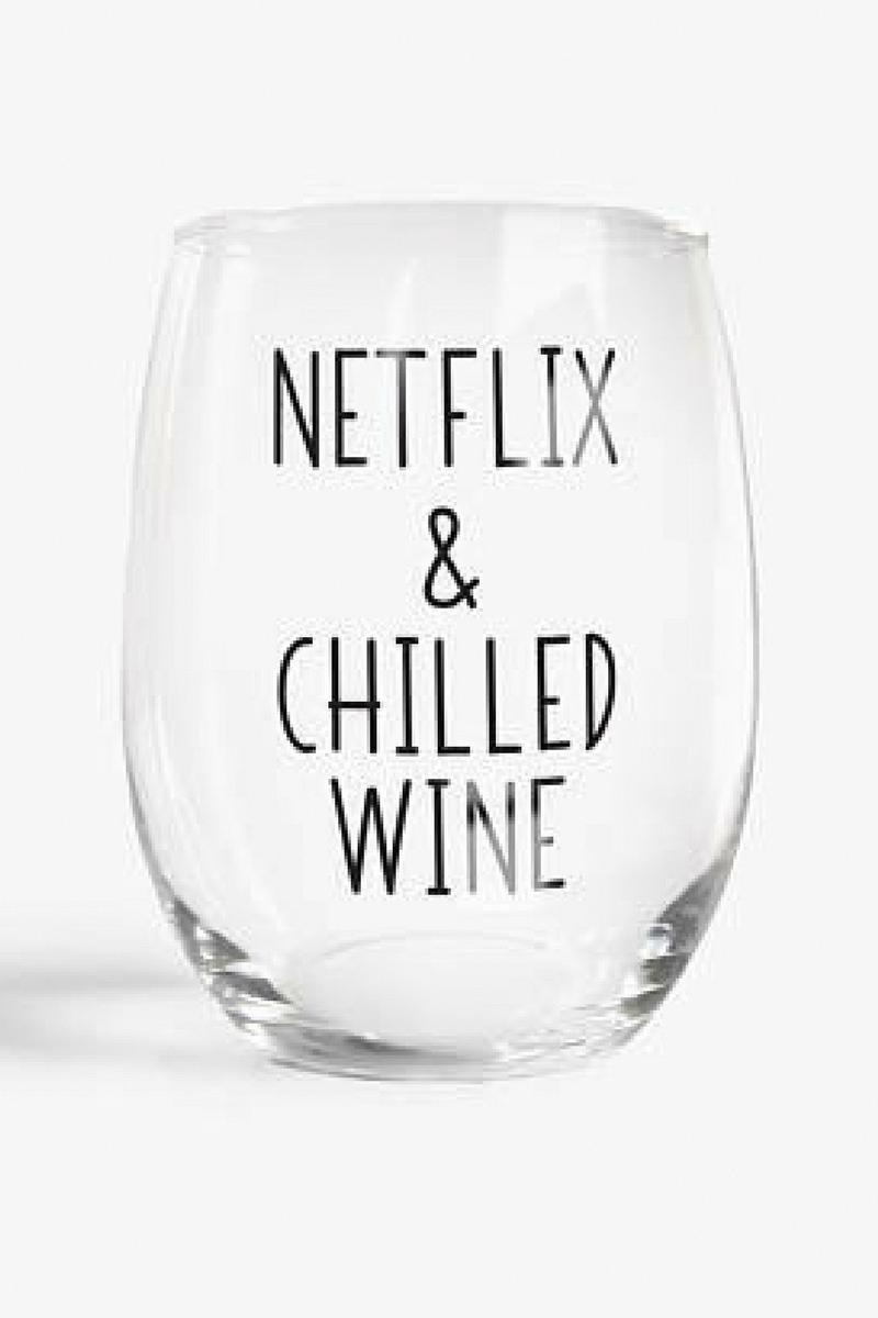 Netflix Chilled Wine Stemless Wine Glass Funny Gift Funny Wine Glasses Funny Wine Sayings Wine Gif Wine Quotes Funny Wine Glasses Personalized Wine Glass