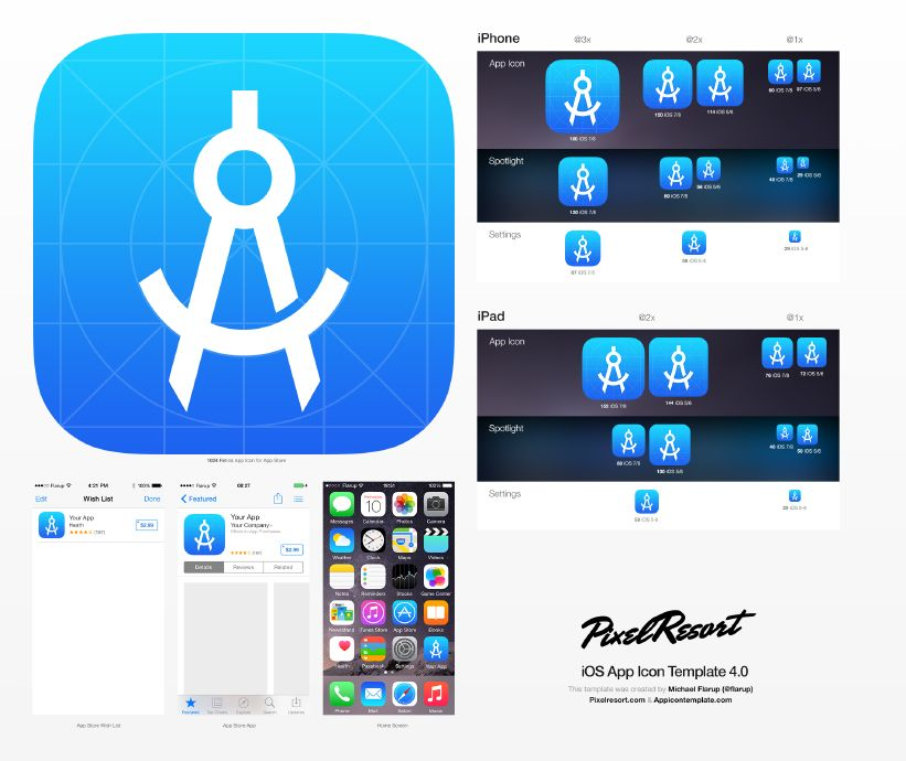 App Icon Template That Utilizes Photoshop Smart Objects To Make It
