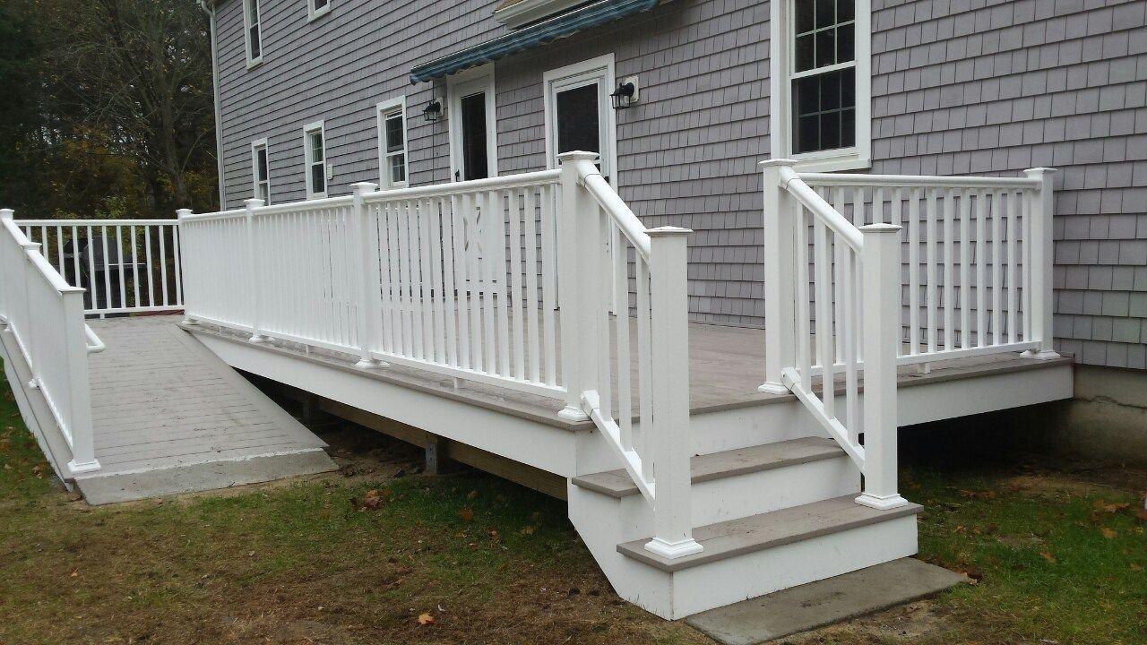 Azek Deck with Ramp, Marion Ma Patio deck designs, Azek